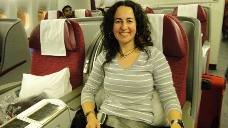 Sabela en Business Class de Qatar Airways