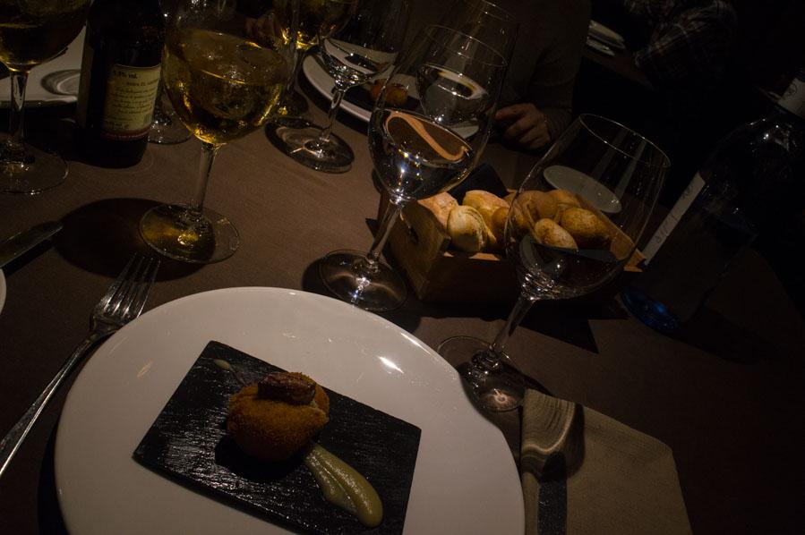 Croquetas de Foie con puré de manzana.