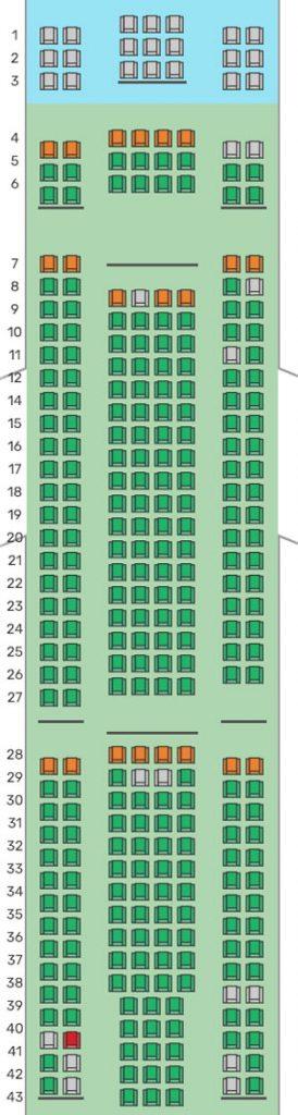 Mapa de asientos de LEVEL operado por Iberia