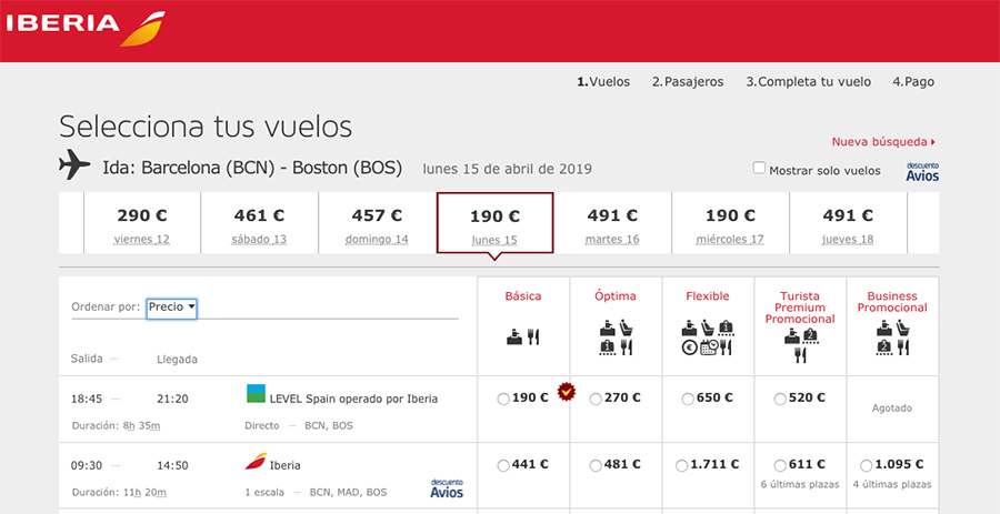 Reservar con LEVEL en Iberia
