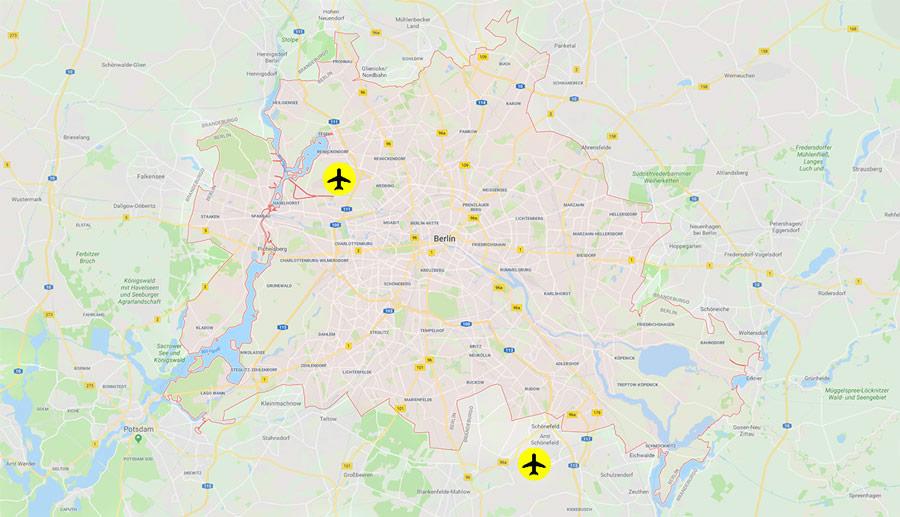 Ubicación de los aeropuertos de Berlín