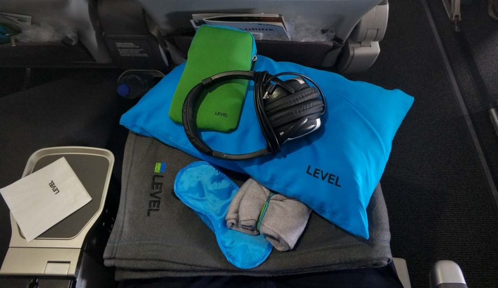 Kit de amenities de LEVEL en Premium Economy