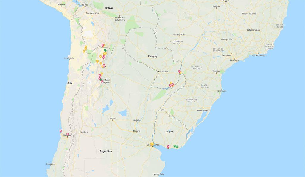 Itinerario por el Cono Sur